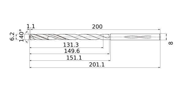 1.1 mm Point Length 6 mm Shank Dia. Internal Coolant Mitsubishi Materials MHS0590L120B MHS Series Solid Carbide Drill 18 mm Hole Depth 5.9 mm Cutting Dia