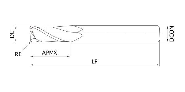 Medium Flute Mitsubishi Materials MS2MRBD0500R030 Series MS2MRB Carbide Mstar End Mill Radius Shape 2 Flutes 5 mm Cutting Dia 0.3 mm Corner Radius