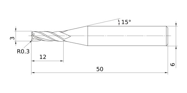 12 mm Cut Dia Roughing for Aluminum Alloy 15 mm LOC Mitsubishi Materials CSRARBD1200R200 Series CSRARB Carbide Corner Radius Shape End Mill 2 mm Corner Radius Short Flute 3 Flutes