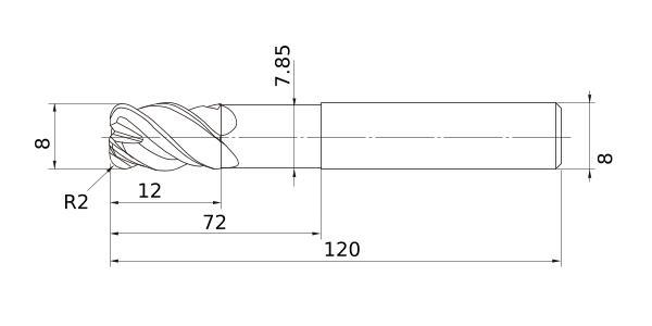2 Hardened Materials Mitsubishi Materials VF2SBR0250S06 VF2SB Series Carbide Impact Miracle End Mill Short Flute 5 mm LOC 5 mm Cut Dia 2.5 mm Corner Radius 6 mm Shank Dia